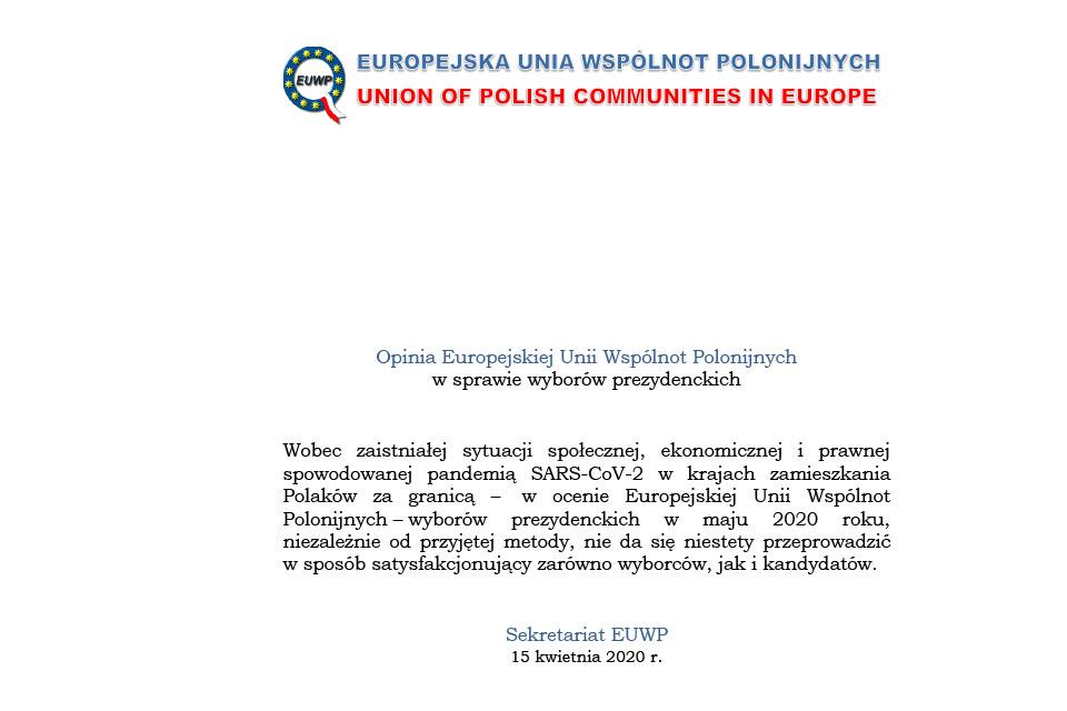 Opinia EUWP w sprawie wyborów prezydenckich