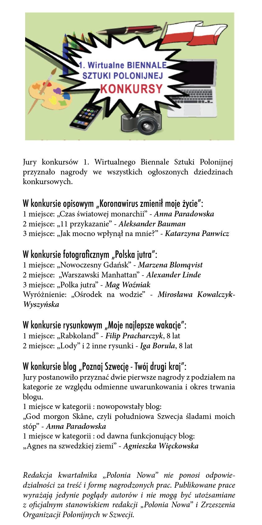 Wyniki konkursów I Biennale Sztuki Polonijnej